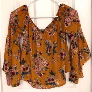 Yellow Floral Bell Sleeve Blouse
